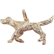 Vintage 14k Gold English Setter Hunting Dog Charm