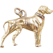 Vintage 14k Gold Weimaraner Dog Charm with Diamond Collar