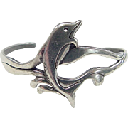 Vintage Sterling Silver Dolphin Cuff Bracelet