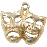 Vintage 14k Gold Drama Mask Charm ~ Comedy and Tragedy
