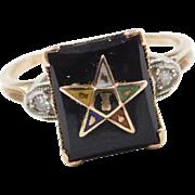 Vintage 10k Gold Onyx Eastern Star Masonic Ring ~ Enamel and Diamond Accents