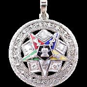 Vintage 14k White Gold Eastern Star Pendant