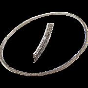 """Edwardian Sterling Silver Etched Bangle Bracelet ~ 7 7/8"""""""