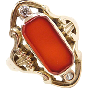 Edwardian 14k Gold Carnelian and Diamond Ring