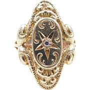 Edwardian 14k Gold .03 Carat Diamond Ring