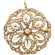 Edwardian 14k Gold Flower Seed Pearl and Diamond Pendant / Pin