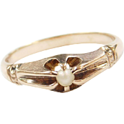 Edwardian 10k Gold Seed Pearl Ring
