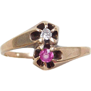 Edwardian 10k Gold Ruby and Diamond Bypass Ring