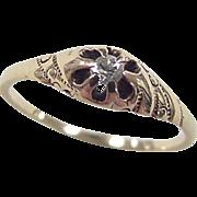 Edwardian 14k Gold .07 Carat Diamond Ring