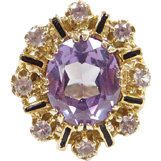 Edwardian 14k Gold 6.64 ctw Alexandrite and Enamel Ring ~ Lab Grown and NATURAL Alexandrite