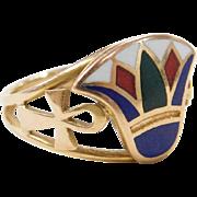 Vintage 18k Gold Egyptian Enamel Lotus and Ankh Ring