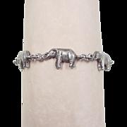 Vintage Sterling Silver Elephant Bracelet