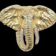 Vintage 14k Gold Sapphire and Diamond Elephant Pendant