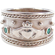 Sterling Silver Wide Emerald Claddagh Ring