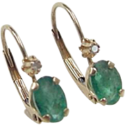 Vintage 14k Gold Natural Emerald and Diamond Earrings
