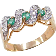 Vintage 10k Gold Two-Tone .24 ctw Emerald and Diamond Ring