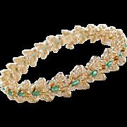"""Vintage 14k Gold 2.98 ctw Emerald and Diamond Butterfly Bracelet ~ 7"""""""