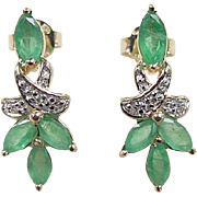 Vintage 10k Gold .57 ctw Natural Emerald and Diamond Earrings