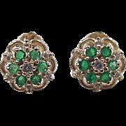 Vintage 14k Gold Natural Emerald and Diamond Flower Stud Earrings