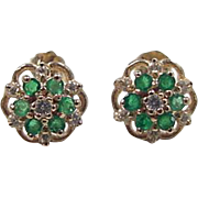 Vintage 14k Gold Natural Emerald and Diamond Flower Stud Earrings