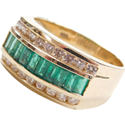 1.44 ctw Natural Emerald and Diamond Men's Ring