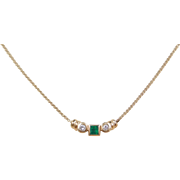 Vintage 14k Gold .26 ctw Natural Emerald and Diamond Necklace ~ 15""