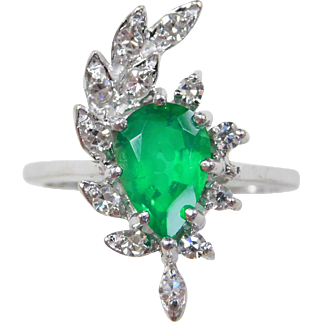 Vintage 14k White Gold 1.46 ctw Emerald And Diamond Ring