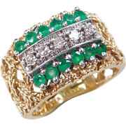 Vintage 14k Gold Two-Tone .60 ctw Emerald and Diamond Ring