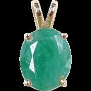 Vintage 14k Gold 2.60 Carat Natural Emerald Pendant