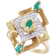 Vintage 18k Gold Emerald and Diamond Ring