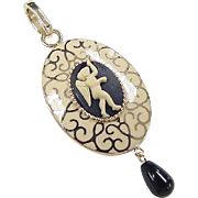 Vintage 14k Gold Cameo Angel Enhancer Pendant with Onyx Dangle and White Enamel Detail