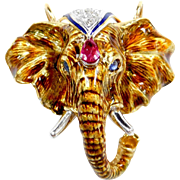 STUNNING Detailed Guilloche Enamel Elephant Pendant / Pin 18k Gold & Platinum with Natural Sapphire, Ruby and Diamonds
