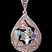 Sterling Silver Enamel Flower Pendant
