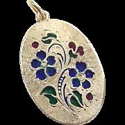 Vintage 14k Gold Enamel Flower Pendant