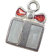 Vintage Sterling Silver Enamel and Mother of Pearl Present Charm