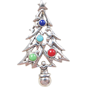 Sterling Silver Colorful Enamel Christmas Tree Pendant