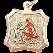 Vintage 14k Gold Enamel Virgo Charm