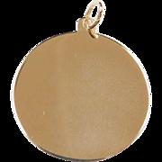 Vintage 14k Gold Engravable Disk Charm