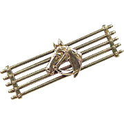 Edwardian 14k Gold Equestrian Horse Pin / Brooch