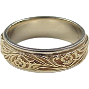 Vintage 14k Gold Two-Tone Etched Flower Band Ring