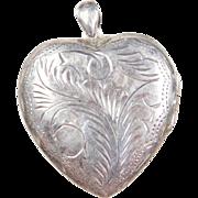 Vintage Hand Engraved BIG Heart Locket Pendant Sterling Silver