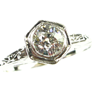 Art Deco European Cut Diamond Engagement Ring 0.40ct, 14k White Gold