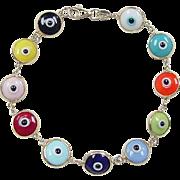 """Vintage 14k Gold Colorful Evil Eye Bracelet ~ 7 1/4"""""""