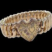 Victorian Tri-Color Heart Expansion Bracelet ~ 12k Gold Filled