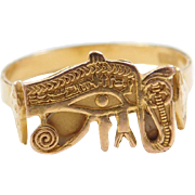 Vintage 18k Gold Egyptian Eye of Horus and Cobra Ring
