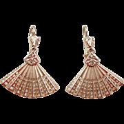 Vintage 14k Gold Fan Earrings
