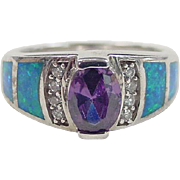 Vintage Sterling Silver Opal, Faux Amethyst and Faux Diamond Ring