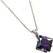 Sterling Silver Faux Amethyst Necklace ~ 18""