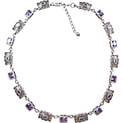 "Sterling Silver Ornate Faux Amethyst Necklace ~ 16"" - 18"""