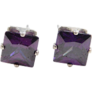 Vintage Sterling Silver Faux Amethyst Stud Earrings